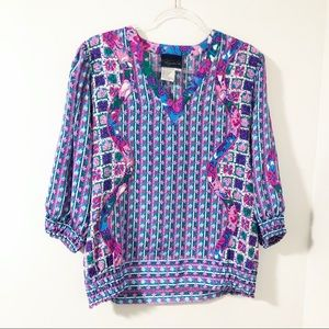 Vintage Bold Colorful Contrast Print Blouse